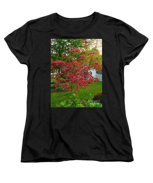 Women's T-Shirt (Standard Cut) featuring the photograph Pretty Pink Beech Tree by Becky Lupe