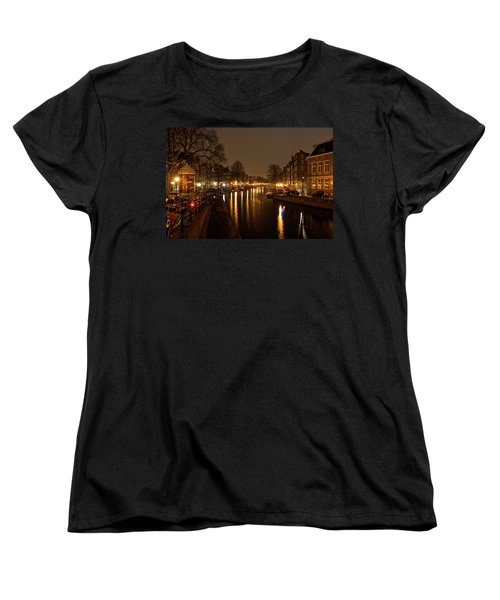 Prinsengracht Canal After Dark Women's T-Shirt (Standard Cut) by Jonah  Anderson