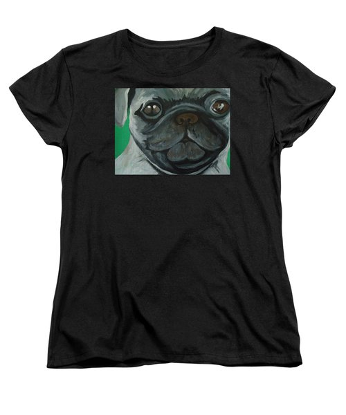 Women's T-Shirt (Standard Cut) featuring the painting PUG by Leslie Manley
