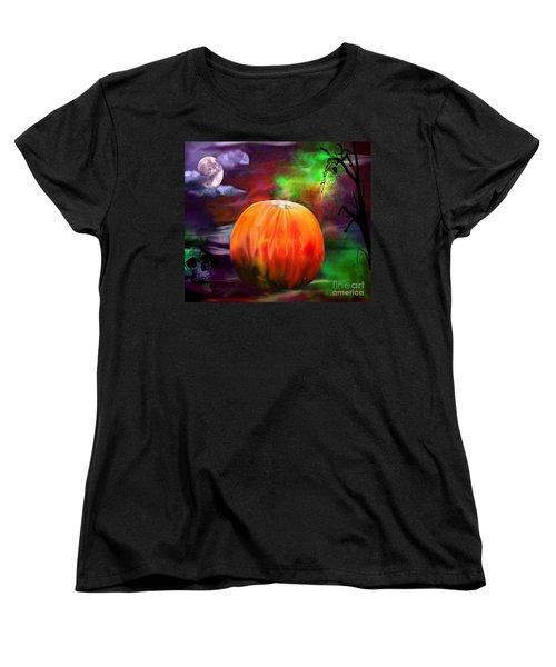 Pumpkin Skull Spider And Moon Halloween Art Women's T-Shirt (Standard Cut)