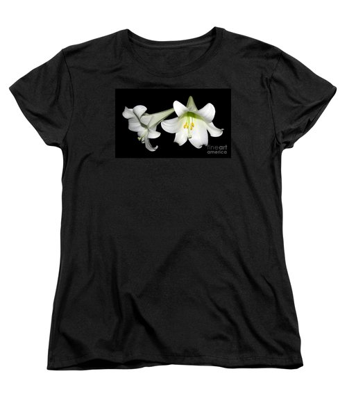 Pure White Easter Lilies Women's T-Shirt (Standard Cut) by Rose Santuci-Sofranko