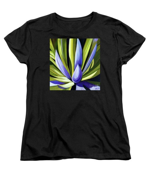 Women's T-Shirt (Standard Cut) featuring the painting Purple Cactus by Debbie Hart