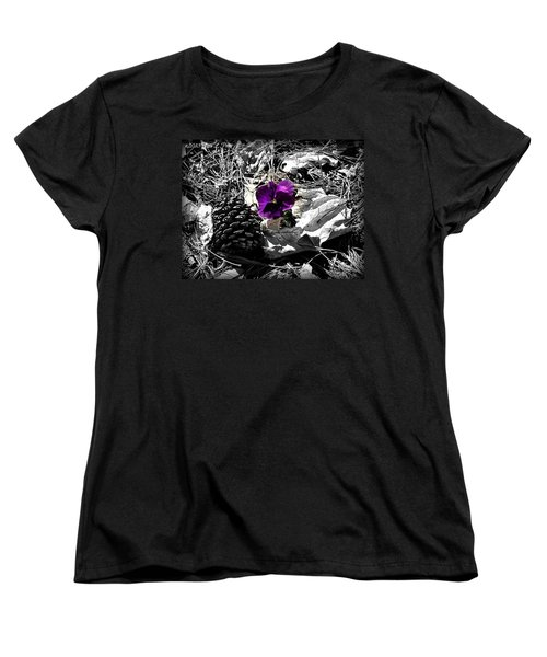 Women's T-Shirt (Standard Cut) featuring the photograph Purple Pansy by Tara Potts