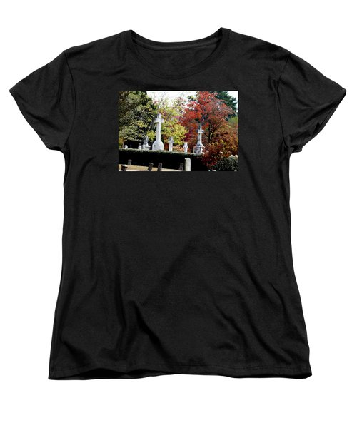 Women's T-Shirt (Standard Cut) featuring the photograph Quad Crosses In Fall by Lesa Fine