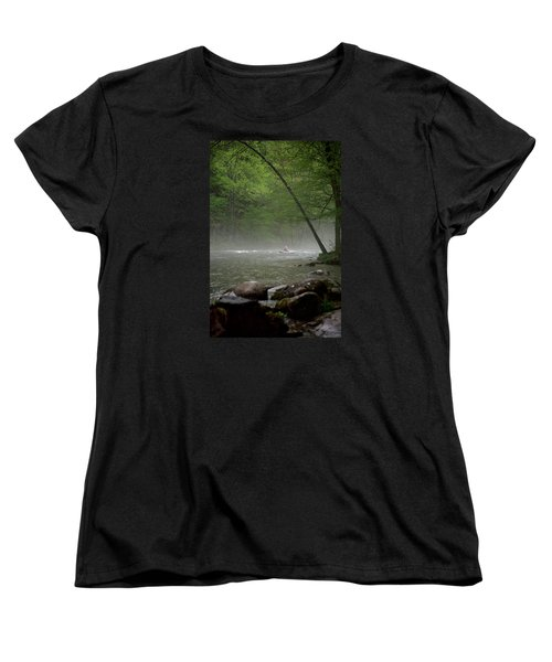 Rafting Misty River Women's T-Shirt (Standard Cut) by Lawrence Boothby