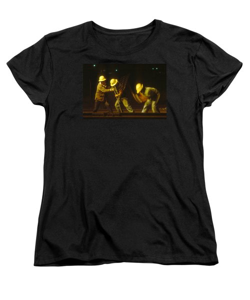 Women's T-Shirt (Standard Cut) featuring the photograph Railroad Workers by Mark Greenberg