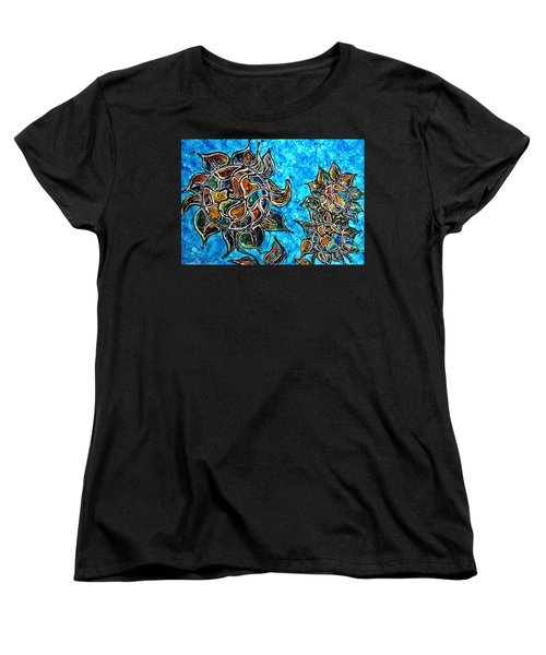 Women's T-Shirt (Standard Cut) featuring the painting Rainbow Color Sunflowers Alcohol Inks by Danielle  Parent