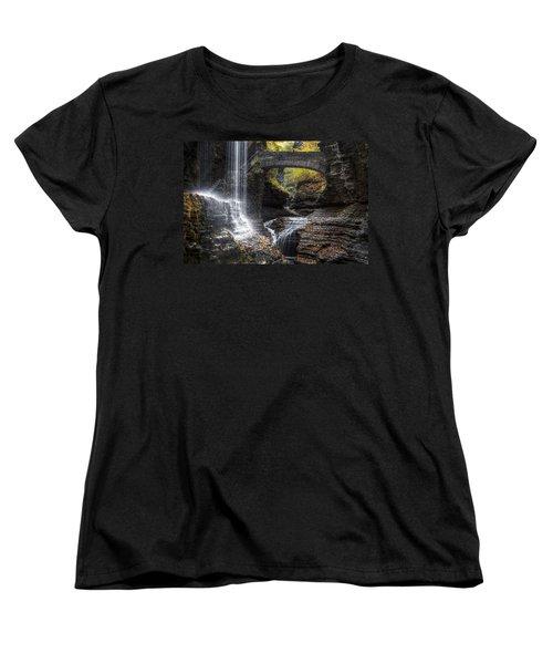 Rainbow Falls Women's T-Shirt (Standard Cut) by Eduard Moldoveanu