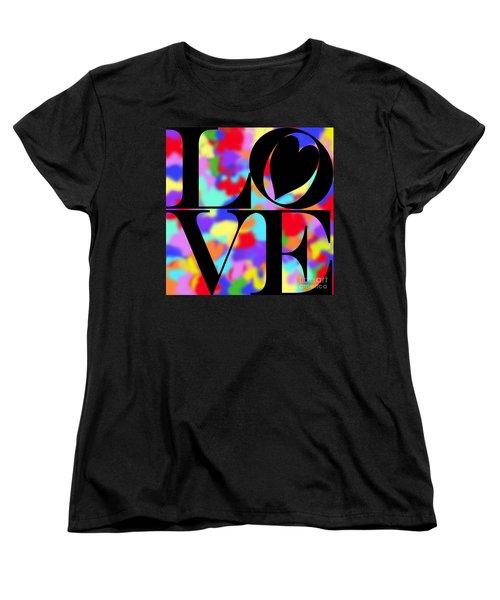Rainbow Love In Black Women's T-Shirt (Standard Cut) by Kasia Bitner