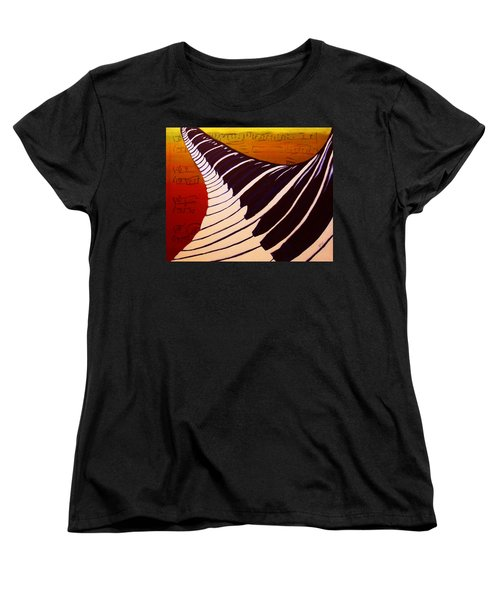 Women's T-Shirt (Standard Cut) featuring the painting Rainbow Piano Keyboard Twist In Acrylic Paint With Sheet Music Notes In Blue Yellow Orange Red by M Zimmerman MendyZ