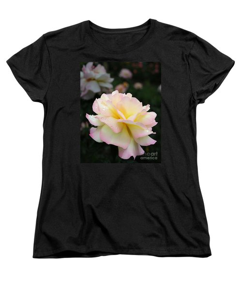 Women's T-Shirt (Standard Cut) featuring the photograph Raindrops On Rose Petals by Barbara McMahon