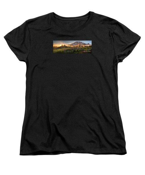 Rainier Golden Light Sunset Meadows Women's T-Shirt (Standard Cut) by Mike Reid