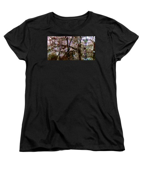 Women's T-Shirt (Standard Cut) featuring the photograph Rainscape - Rain On The Window Series 3 Abstract Photo by Marianne Dow