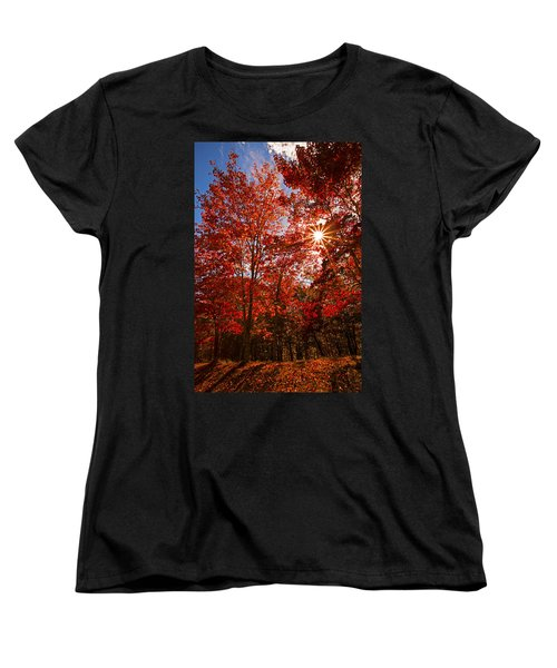 Women's T-Shirt (Standard Cut) featuring the photograph Red Autumn Leaves by Jerry Cowart