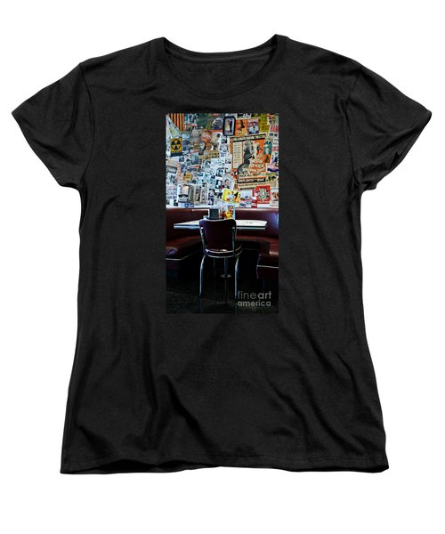 Red Booth Awaits In The Diner Women's T-Shirt (Standard Cut) by Nina Prommer