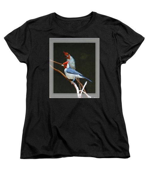Red-crested Cardinal Women's T-Shirt (Standard Cut) by Walter Herrit