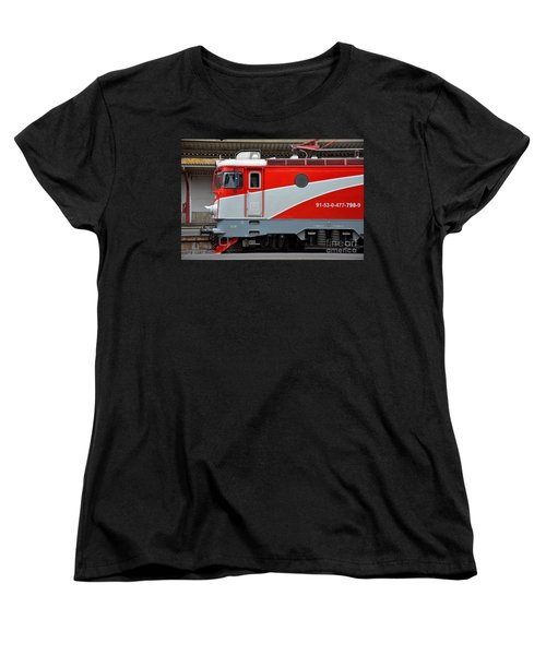 Women's T-Shirt (Standard Cut) featuring the photograph Red Electric Train Locomotive Bucharest Romania by Imran Ahmed