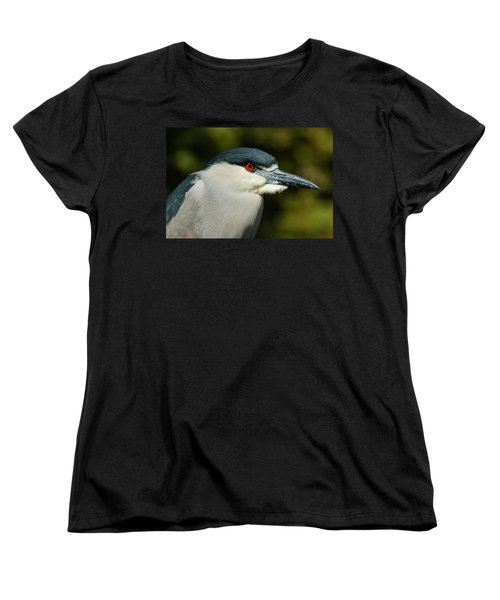 Women's T-Shirt (Standard Cut) featuring the photograph Red Eye - Black-crowned Night Heron Portrait by Georgia Mizuleva