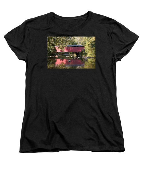 Red Fairhill Covered Bridge Two Women's T-Shirt (Standard Cut) by Alice Gipson