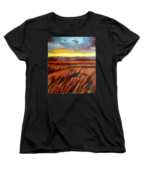 Women's T-Shirt (Standard Cut) featuring the painting Red Field by Helena Wierzbicki