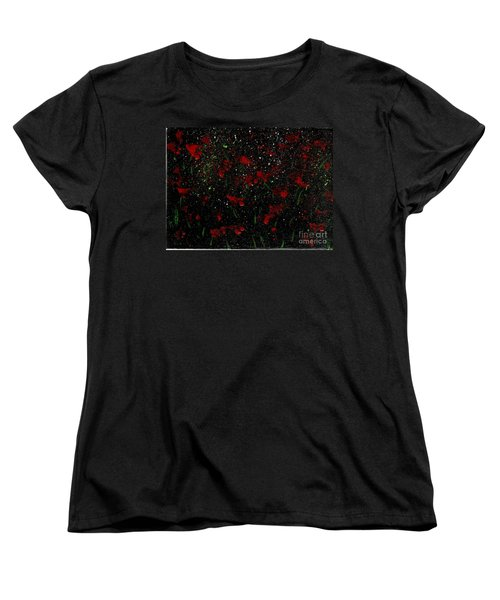 Women's T-Shirt (Standard Cut) featuring the painting Red Flowers In Twilight  by Becky Lupe