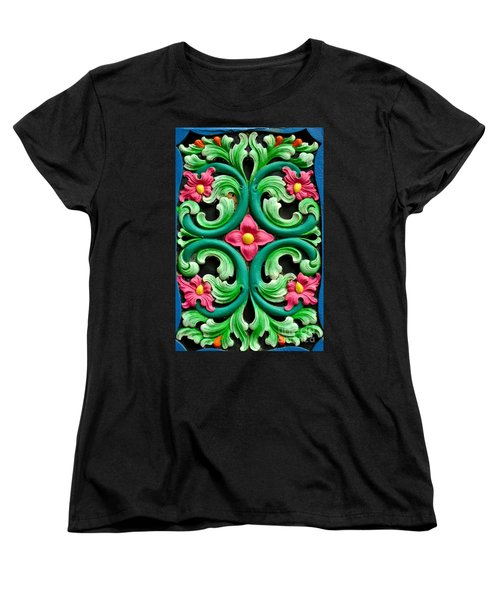 Red Green And Blue Floral Design Singapore Women's T-Shirt (Standard Cut) by Imran Ahmed