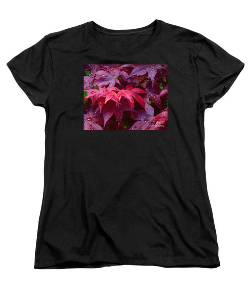 Women's T-Shirt (Standard Cut) featuring the photograph Red Maple After Rain by Ann Horn
