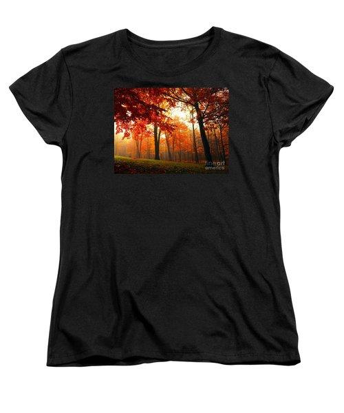 Red Maple Forest Women's T-Shirt (Standard Cut) by Terri Gostola