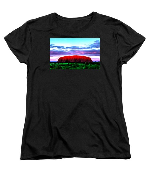 Women's T-Shirt (Standard Cut) featuring the painting Red Mountain Sunset by Bruce Nutting