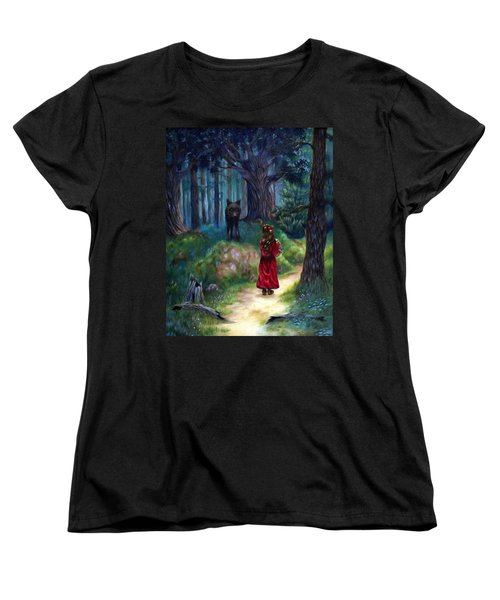 Women's T-Shirt (Standard Cut) featuring the painting Red Riding Hood by Heather Calderon