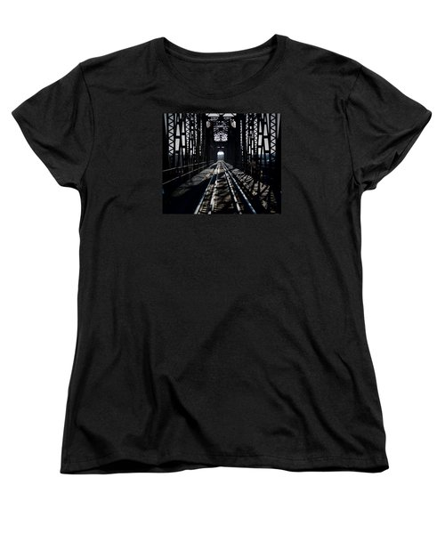 Women's T-Shirt (Standard Cut) featuring the photograph Red River Rail Road Crossing by Diana Mary Sharpton