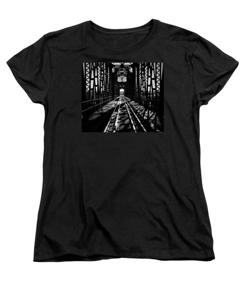 Red River Rail Road Crossing In Bw Women's T-Shirt (Standard Cut) by Diana Mary Sharpton
