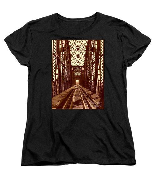 Women's T-Shirt (Standard Cut) featuring the photograph Red River Train Bridge #1 by Robert ONeil