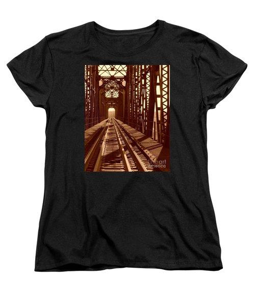 Women's T-Shirt (Standard Cut) featuring the photograph Red River Train Bridge #2 by Robert ONeil