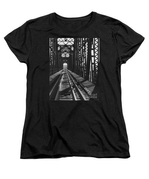 Women's T-Shirt (Standard Cut) featuring the photograph Red River Train Bridge #3 by Robert ONeil
