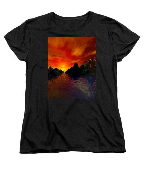 Women's T-Shirt (Standard Cut) featuring the digital art Red Sky by Kim Prowse