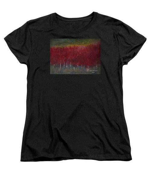 Red Trees Watercolor Women's T-Shirt (Standard Cut) by Dick Bourgault