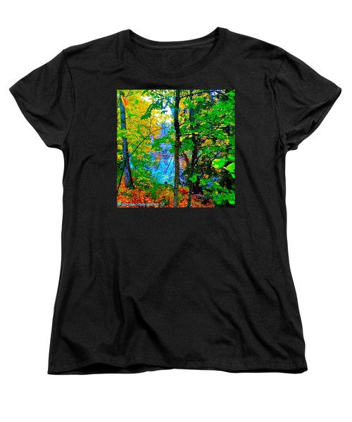 Reed College Canyon Reflections Of Autumn Women's T-Shirt (Standard Cut) by Anna Porter