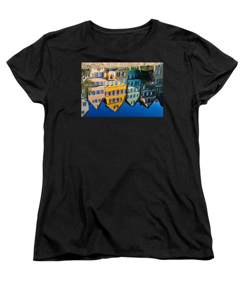 Reflection Of Colorful Houses In Neckar River Tuebingen Germany Women's T-Shirt (Standard Cut) by Matthias Hauser
