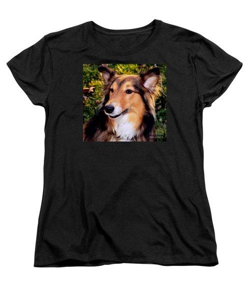 Dog - Collie - Regal Shelter Dog Women's T-Shirt (Standard Cut) by Luther Fine Art