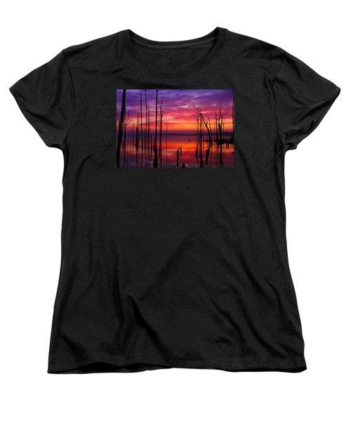 Reservoir At Sunrise Women's T-Shirt (Standard Cut) by Roger Becker