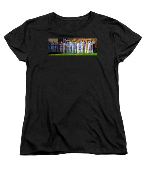 Women's T-Shirt (Standard Cut) featuring the photograph Retired Skis  by Jackie Carpenter