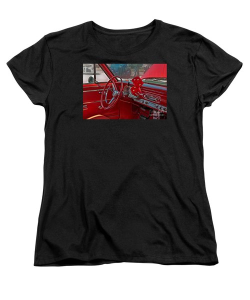 Women's T-Shirt (Standard Cut) featuring the photograph Retro Chevy Car Interior Art Prints by Valerie Garner