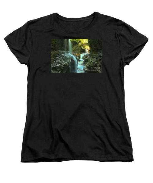 Rainbow Falls Watkins Glen Women's T-Shirt (Standard Cut) by Adam Jewell