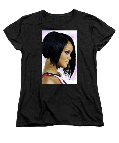 Women's T-Shirt (Standard Cut) featuring the painting Rihanna Artwork by Sheraz A
