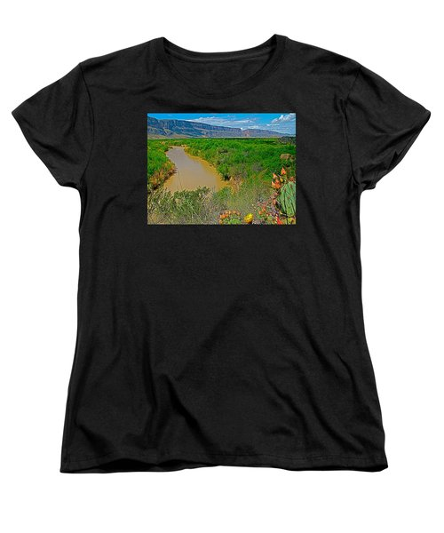 Rio Grande East Of Santa Elena Canyon In  Big Bend National Park-texas Women's T-Shirt (Standard Cut) by Ruth Hager