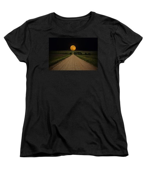 Road To Nowhere - Supermoon Women's T-Shirt (Standard Cut) by Aaron J Groen