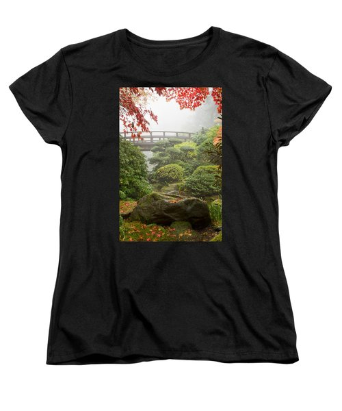Women's T-Shirt (Standard Cut) featuring the photograph Rock And Bridge At Japanese Garden by JPLDesigns