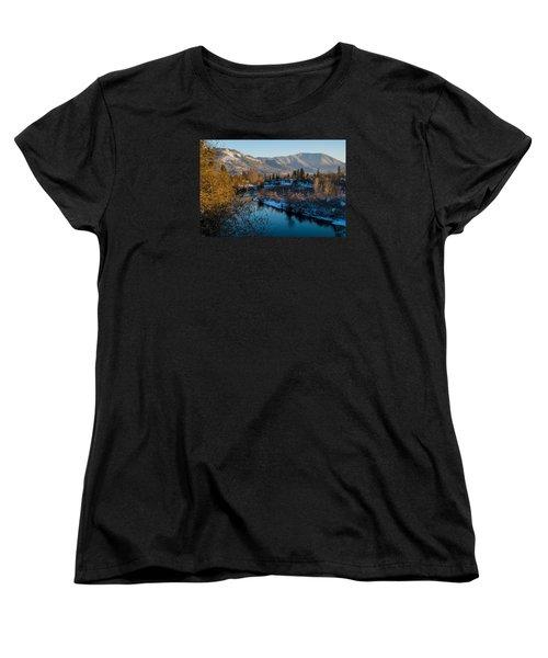 Rogue River Winter Women's T-Shirt (Standard Cut) by Mick Anderson