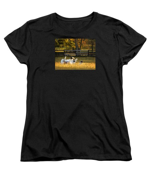 Women's T-Shirt (Standard Cut) featuring the photograph Roll In The Hay by Joan Davis
